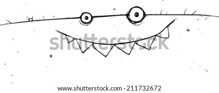 Happy monster face cartoon character outline illustration - stock photo