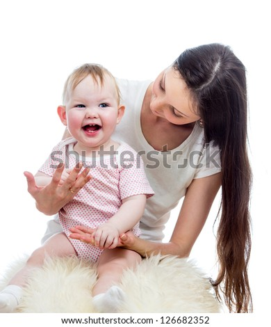 happy mother and baby play