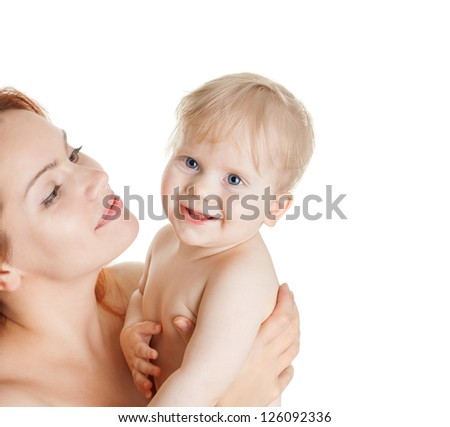 happy mother and cute baby girl isolated on white - stock photo