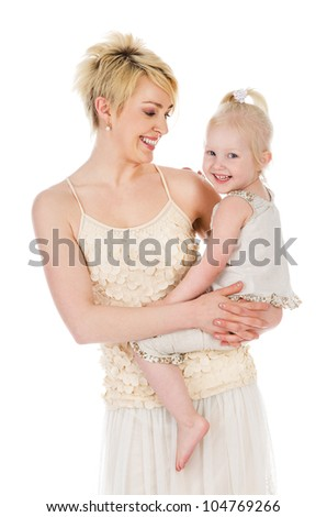 Happy mother and daughter. isolated on white background - stock photo