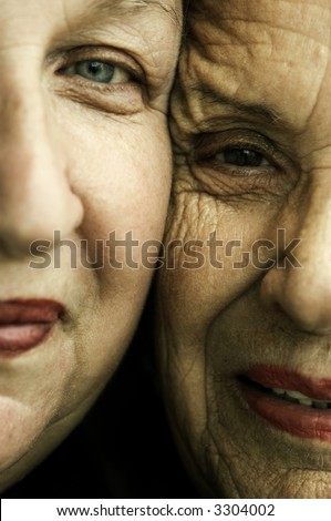 Happy mother and daughter(special toned , focus point on senior eye)