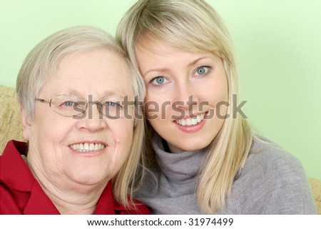 happy mother and daughter together - stock photo