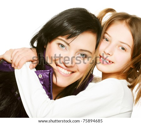 happy mother and her daughter - stock photo