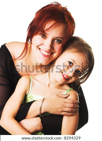happy mother and her little daughter - stock photo