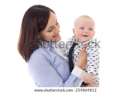 happy mother and her little son isolated on white background - stock photo