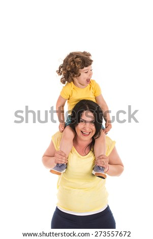 Happy mother and toddler son having fun together isolated on white background