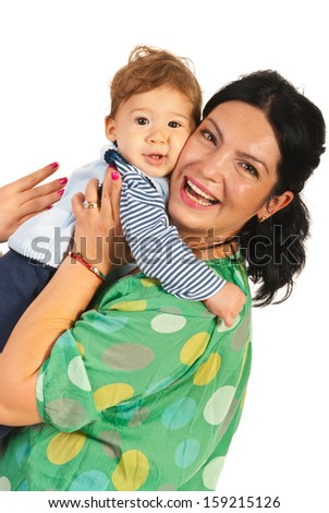 Happy mother embracing her baby boy isolated on white background - stock photo