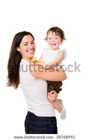 Happy Mother holding daughter both laughing isolated