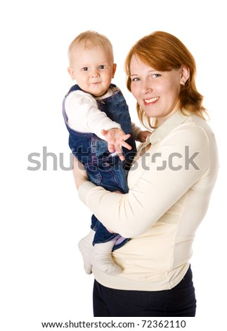 Happy mother holding daughter isolated on white