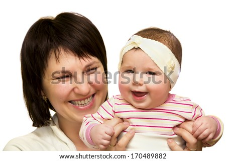Happy mother holding her small daughter isolated on white - stock photo