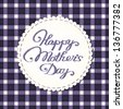 Happy mother's day card. Stylized fabric label with embroidered letters. - stock photo