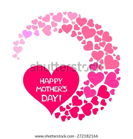 Happy Mother's Day! Greeting card. Celebration background with pink heart and place for your text.  Illustration  - stock photo