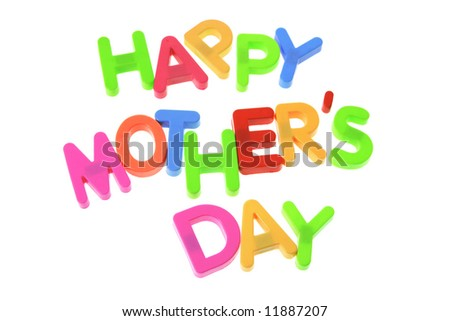 Happy Mother's Day on White Background - stock photo