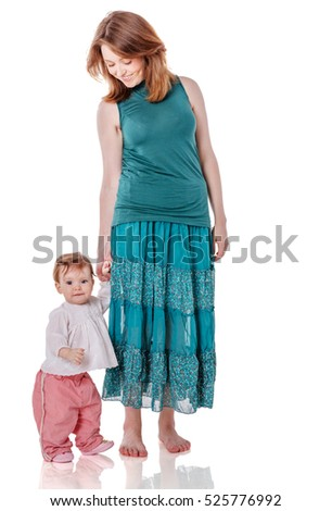 Happy mother walking with daughter isolated on white