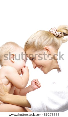 Happy mother with baby boy isolated over white - stock photo