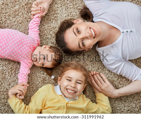 happy mother with her children - stock photo