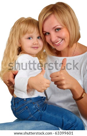 Happy mother with little daughter showing okay sign  on white background - stock photo