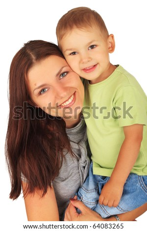 Happy mother with little son on white background - stock photo