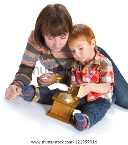happy mother with the small son in studio on a white background - stock photo