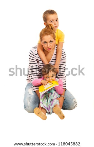 Happy mother with two kids isolated on white background - stock photo
