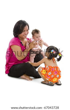 happy mother with two sweet girls, isolated on white background - stock photo