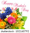 Happy Mothers Day. card concept. beautiful bouquet of colorful spring flowers. tulip, ranunculus, hyacinth, daisy, gerber - stock photo