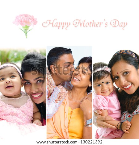 Happy Mothers Day collection. Asian Indian mother and child collection.