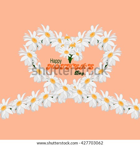Happy Mothers Day concept background. Heart of chamomile flowers on a pink background with an inscription Happy Mothers Day. Rasterized version. - stock photo