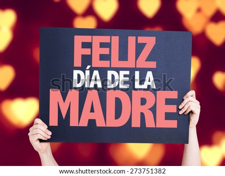 Happy Mothers Day (in Spanish) card with heart bokeh background - stock photo
