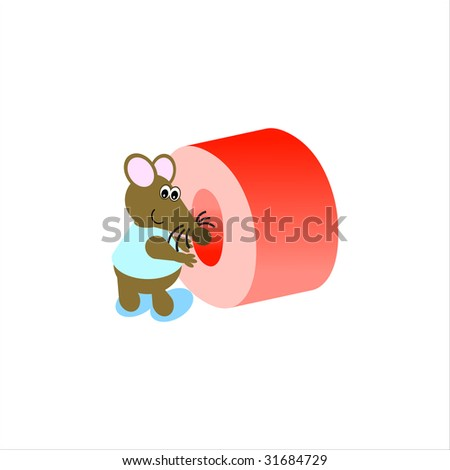 Happy Mouse with lower case letter o - stock photo