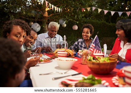 Happy Multi Generation Black Family At 4th July Barbecue