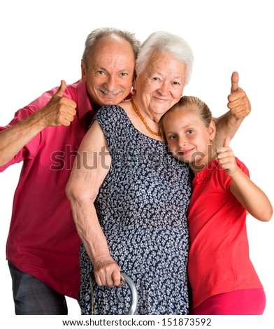 Happy multi-generation family on a white background - stock photo