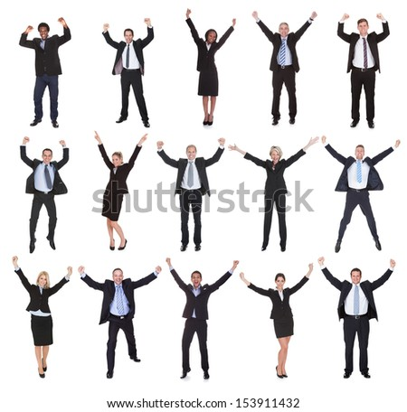 Happy Multi-racial Group Of Business People Raising Arms Over White Background - stock photo