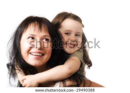 Happy mum and daughter on white