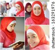 Happy muslim and Arabic girls learning together in group - stock photo