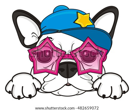 happy muzzle of french bulldog in pink sunglasses and cool cap