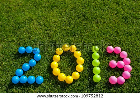 Happy New Year 2013 against a green grass background - stock photo
