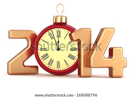 Happy New Year 2014 alarm clock Christmas ball decoration winter holidays ornament stylized souvenir. Traditional wintertime midnight future begin countdown. 3d render isolated on white background - stock photo