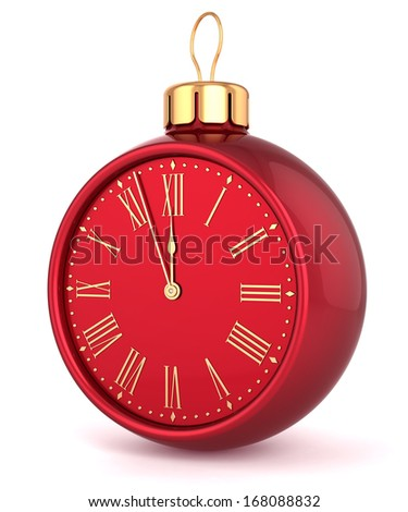Happy New Year alarm clock Christmas ball ornament bauble decoration icon concept. Traditional wintertime midnight countdown future beginning symbol souvenir. 3d render isolated on white background - stock photo