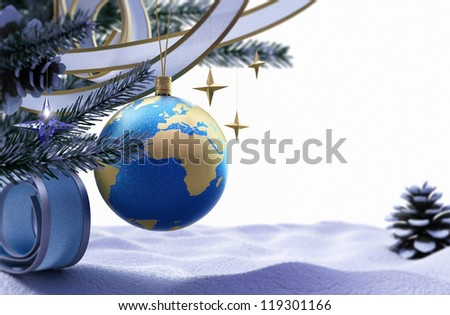 Happy New Year and Merry Christmas background with ice and decorations - stock photo