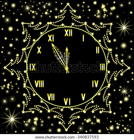 Happy New Year background with shining snowflakes and golden clock showing five minutes to midnight. Raster version - stock photo