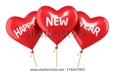 Happy new year Balloon Concept (isolated on white and clipping path) - stock photo