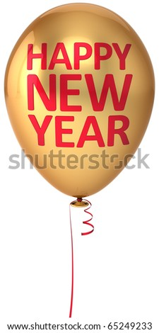 Happy New Year balloon gold red text. Winter wintertime holidays traditional greeting card design element beginning positive concept. 3d render isolated on white background - stock photo