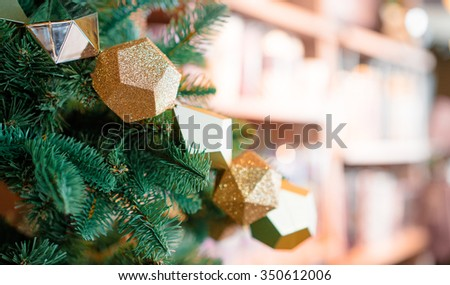 Happy new year! Beautiful Christmas decoration on green brunch. - stock photo