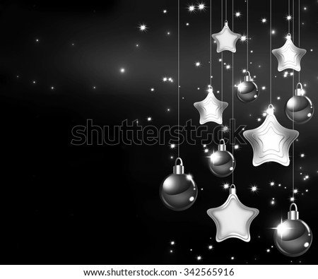 Happy New Year 2016. Beautiful Merry Christmas background. Black and white Happy Holidays concept. Winter Party invitation with sparkling baubles and stars hanging. Elegant and trendy concept. - stock photo