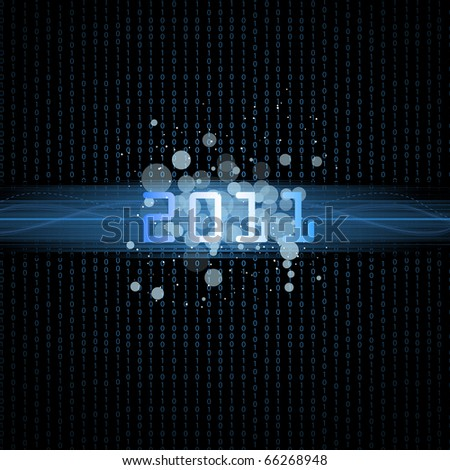 Happy new year.Binary background 2011.Vector version available in my gallery. - stock photo
