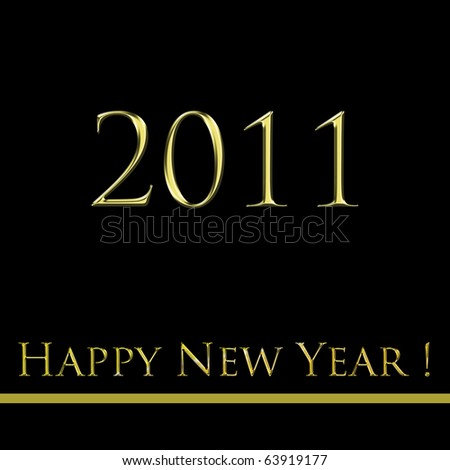 happy new year 2011 black and gold - stock photo
