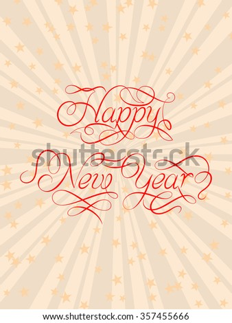 Happy New Year Calligraphy Design Raster Illustration - stock photo