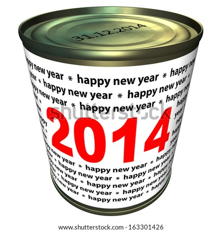 Happy new year 2014 - can with numbers 2014 - stock photo