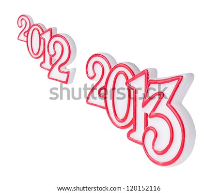 Happy new year 2013 candle digits isolated on white background - stock photo